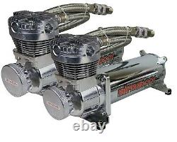 3/8 airmaxxx Complete Air Ride Management System 480 Chrome Compressor 5 Gal