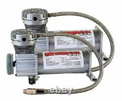 Air Ride Compressors Two Pewter 400 & 5 Gallon Steel Air Tank 120 psi on 150 off