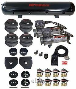 Air Ride Suspension Kit 1963 1972 Chevy C10 3/8 Valves Blk 7 Switch Bags Tank