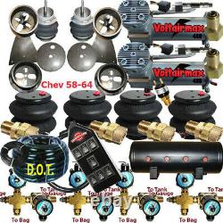 B Impala Air Ride Valves 7 Switch Air Compressors Tank 58-64 Chevy 150 psi