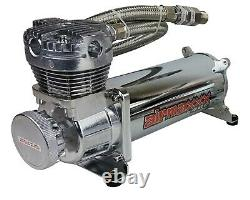 Chrome Air Compressor Kit with Air Intake Filter Relocator AirMaxxx 480 180 psi
