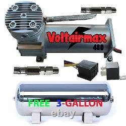 V 480C Air Compressor Ride 200psi rated with FREE 3 Gal Stainless Air Tank
