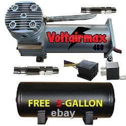 V 480C Air Compressor Ride 200psi rated with FREE 5 Gal Air Tank