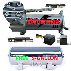 V 480C Air Compressor Ride 200psi rated with FREE 5 Gal Stainless Air Tank