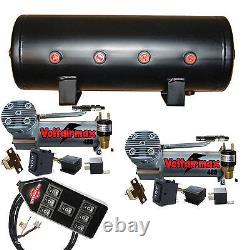 V Air Compressors Airbagit DC100 Air Bag Management 7 Switch 3 gal tank