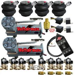 V Airbagit DC100Compressors 1/2 Valves Air Ride 2600 Bags 7 Switch