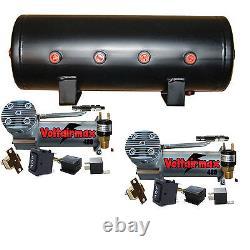 V Dual Air Compressors Airbagit DC100 Air Bag Management Blk 5 Gal tank
