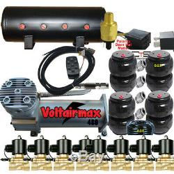 V Z01 Airbagit 480C Compressor 3/8Valve AirRide 2500&2600 Bags 7 Switch Box