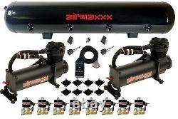 Airmaxxx Noir 480 Air Ride Compresseurs 1/2 En Laiton Vannes Noir 7 Switch & Réservoir