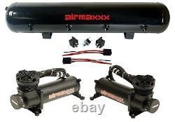 Compresseurs D'air Airmaxxx 480 Noir 5 Gallon Réservoir Air Bag Suspension 180 Psi Kit