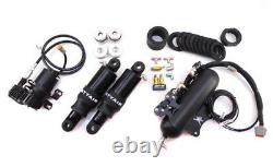Dirty Air Stealth Front & Rear Air Ride Shocks Suspension Fast-up Kit Harley 80+