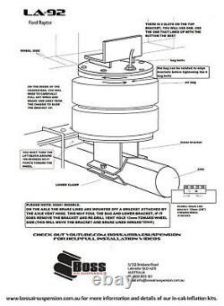 Ford F150 Raptor Jusqu'au Modèle 2020 Boss Air Bag Suspension Load Assist Kit La92