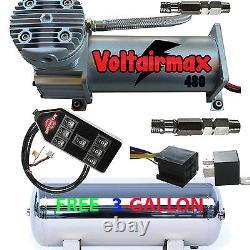 V 480c Compresseur D'air Ride 200psi Coté Gratuit 3 Gl Tank Inox/7-switch Cont